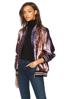 True Religion Women's Pailette Sequin Bomber Jacket  S