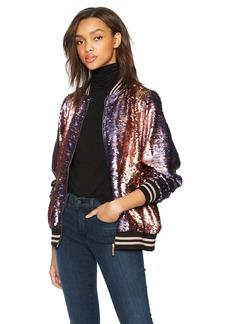 True Religion Women's Pailette Sequin Bomber Jacket  XL