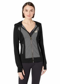 True Religion Women's Performance Zip UP Hoodie Black/Space dye Charcoal S