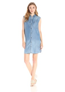 True Religion Women's Sleeveless Chambray Utility Dress