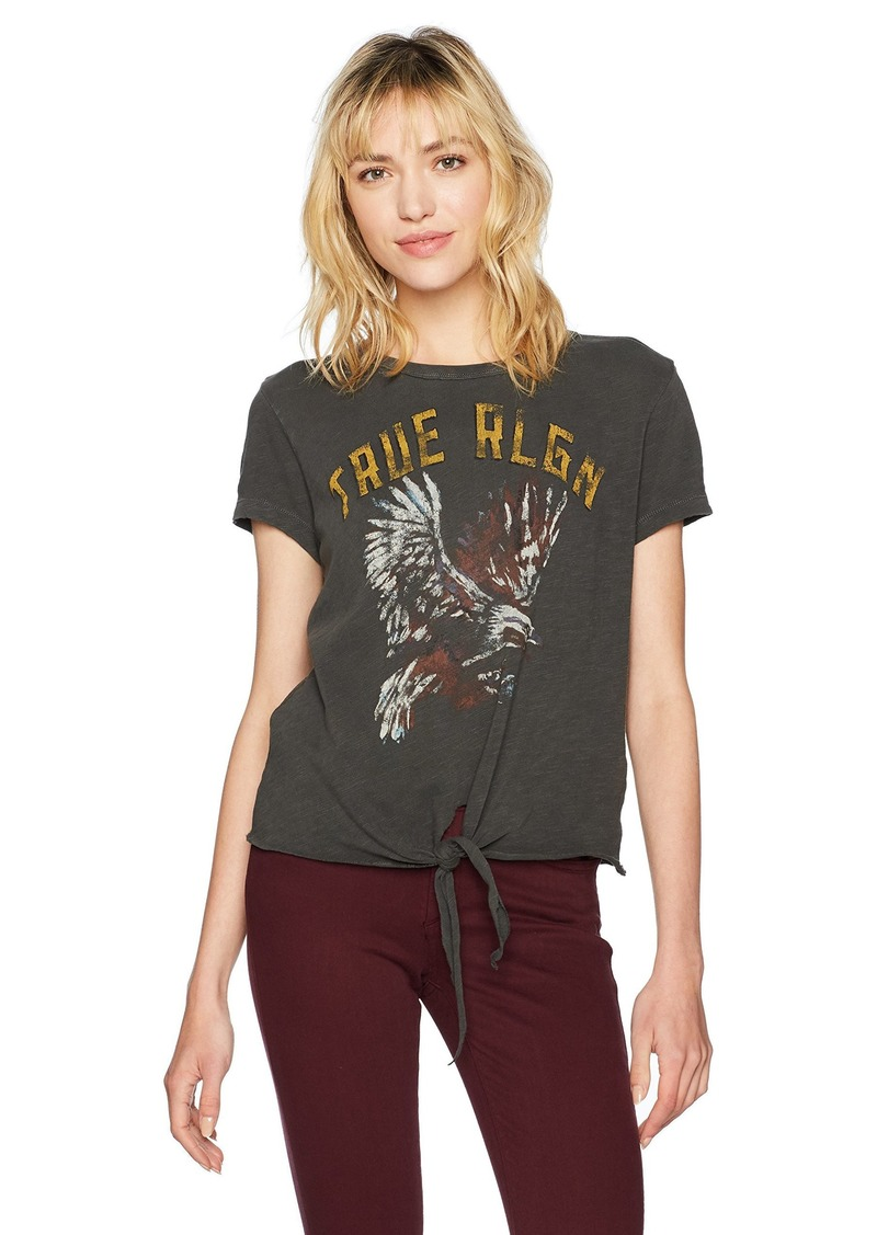True Religion Women's Tie Front Tee with Eagle Graphic  L