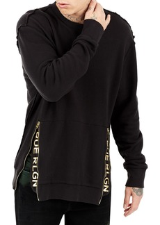 True Religion Zip-Trim Crewneck Sweater