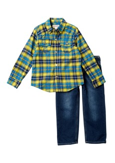 True Religion Western Woven Plaid Shirt & Pants Set (Toddler Boys)