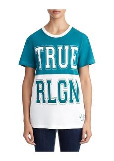 True Religion WOMENS COLOR BLOCK COLLEGE V NECK T