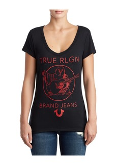 True Religion WOMENS CRYSTAL EMBELLISHED LOGO TEE