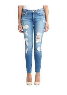 True Religion WOMENS DESTROYED CURVY SKINNY JEAN