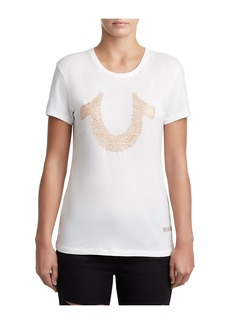 True Religion WOMENS EMBROIDERED LOGO TEE