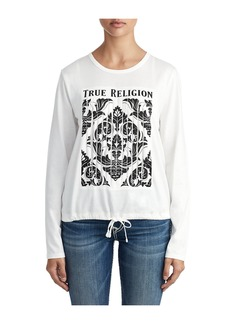 True Religion WOMENS GRAPHIC STRIP DRAWSTRING TOP