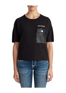True Religion WOMENS LEATHER POCKET CROPPED TEE