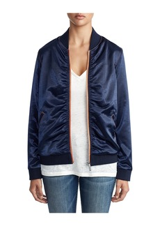 True Religion WOMENS MOTO GIRL SATIN BOMBER JACKE