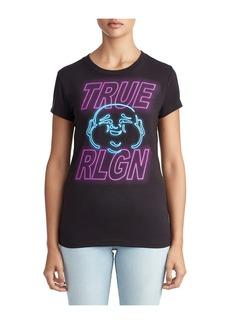 True Religion WOMENS NEON SIGN BUDDHA GRAPHIC TEE