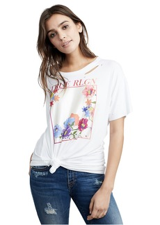 True Religion WOMENS OPEN BACK FLORAL GRAPHIC TEE