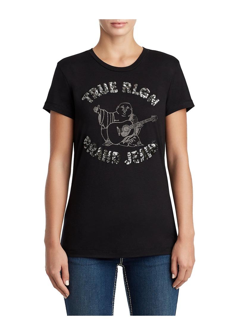 941b1349 True Religion WOMENS SEQUIN BUDDHA GRAPHIC TEE | Casual Shirts