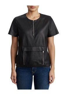 True Religion WOMENS VEGAN LEATHER ZIPPERED SHORT