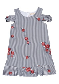 Truly Me Embroidered Stripe Dress (Toddler Girls & Little Girls)
