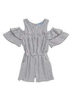 Truly Me Gingham Cold Shoulder Romper (Big Girls)