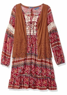 Truly Me Girls' Big Tween Ombre Sequins Yoke Long Sleeve Dress red/Multi