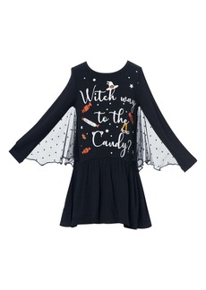 Truly Me Kids' Bat Wing Glow in the Dark Long Sleeve Dress (Toddler & Little Girl)