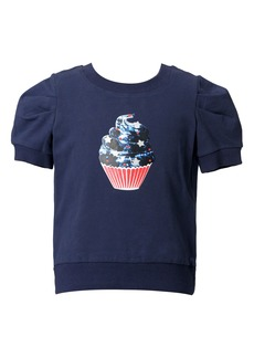 Truly Me Kids' Cupcake Short Puff Sleeve French Terry Sweater (Toddler & Little Girl)