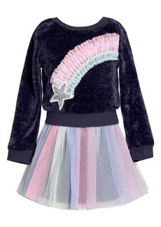 Truly Me Rainbow Star Faux Two-Piece Tutu Dress (Toddler & Little Girl)