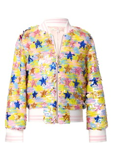 Truly Me Sequin Flip Stars Bomber Jacket (Toddler & Little Girl)
