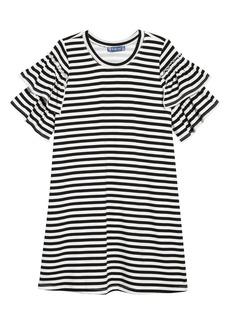 Truly Me Stripe Ruffle Sleeve Dress (Big Girls)