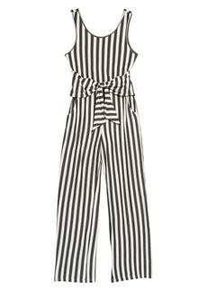 Truly Me Stripe Tie Front Knit Jumpsuit (Big Girls)