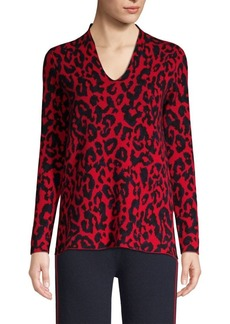 TSE Animal Print V-Neck Sweater