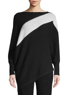 TSE Cashmere Asymmetric Colorblocked Sweater
