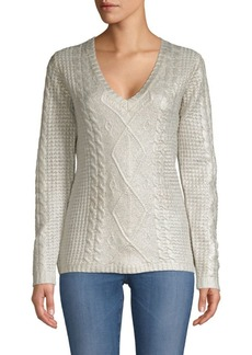 TSE Cashmere Foil Overlay Cabled Sweater