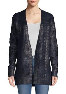 TSE Cashmere Metallic Cabled Cardigan