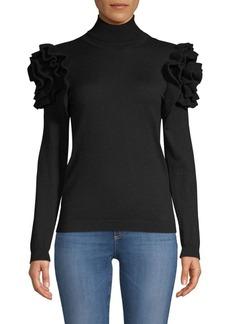 TSE Cashmere Ruffle Turtleneck Sweater