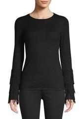 TSE Fringe-Cuffed Cashmere Sweater
