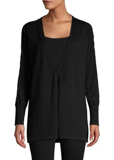 TSE Lace-Trimmed Open Front Cardigan
