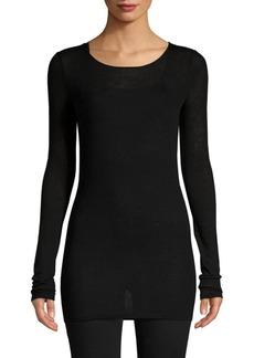 TSE Long-Sleeve Stretch Cashmere-Blend Top