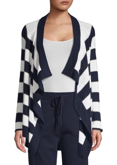 TSE Lurex & Cashmere-Blend Striped Draped Cardigan