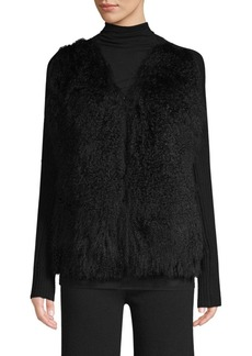 TSE Mongolian Fur & Cashmere Cardigan
