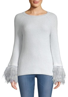 TSE Mongolian Fur Cuff Sweater
