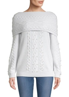 TSE Pearl-Trim Cable-Knit Sweater
