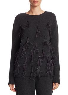 TSE Feather-Trim Cashmere Sweater