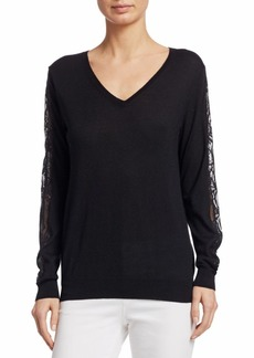 TSE Lace Sleeve V-Neck Cashmere Sweater