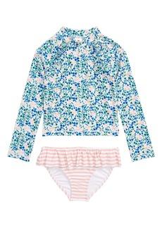 Tucker and Tate Tucker + Tate Graphic Ruffle Two-Piece Rashguard Swimsuit (Toddler, Little Girl & Big Girl)