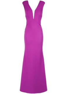 Tufi Duek sheer panel gown - Pink & Purple