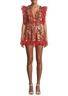 Tularosa Amelia Shirred Ruffle Floral Mini Dress