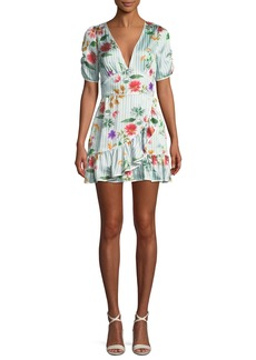 Tularosa Barb Striped Floral Flounce Short Dress
