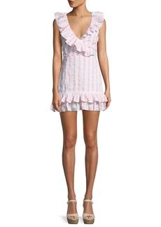 Tularosa Bennet V-Neck Sleeveless Ruffled Striped Cotton Mini Dress