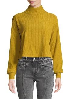 Tularosa Blaine Button-Back Turtleneck Cropped Metallic-Knit Sweater