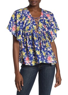 Tularosa Daisy Floral Lace-Up Blouse