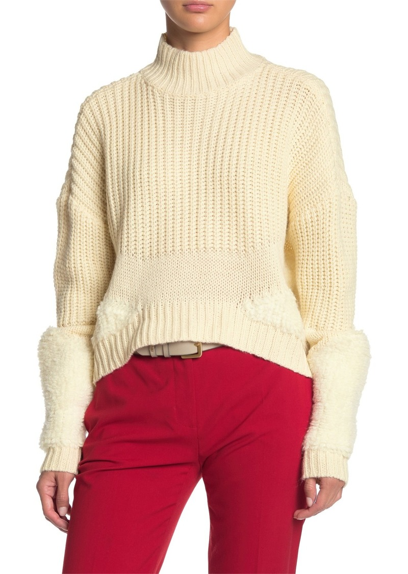 Tularosa Jen Faux Shearling Trim Sweater