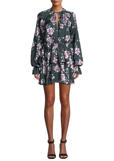 Tularosa Kenya Tiered Floral Long-Sleeve Mini Dress